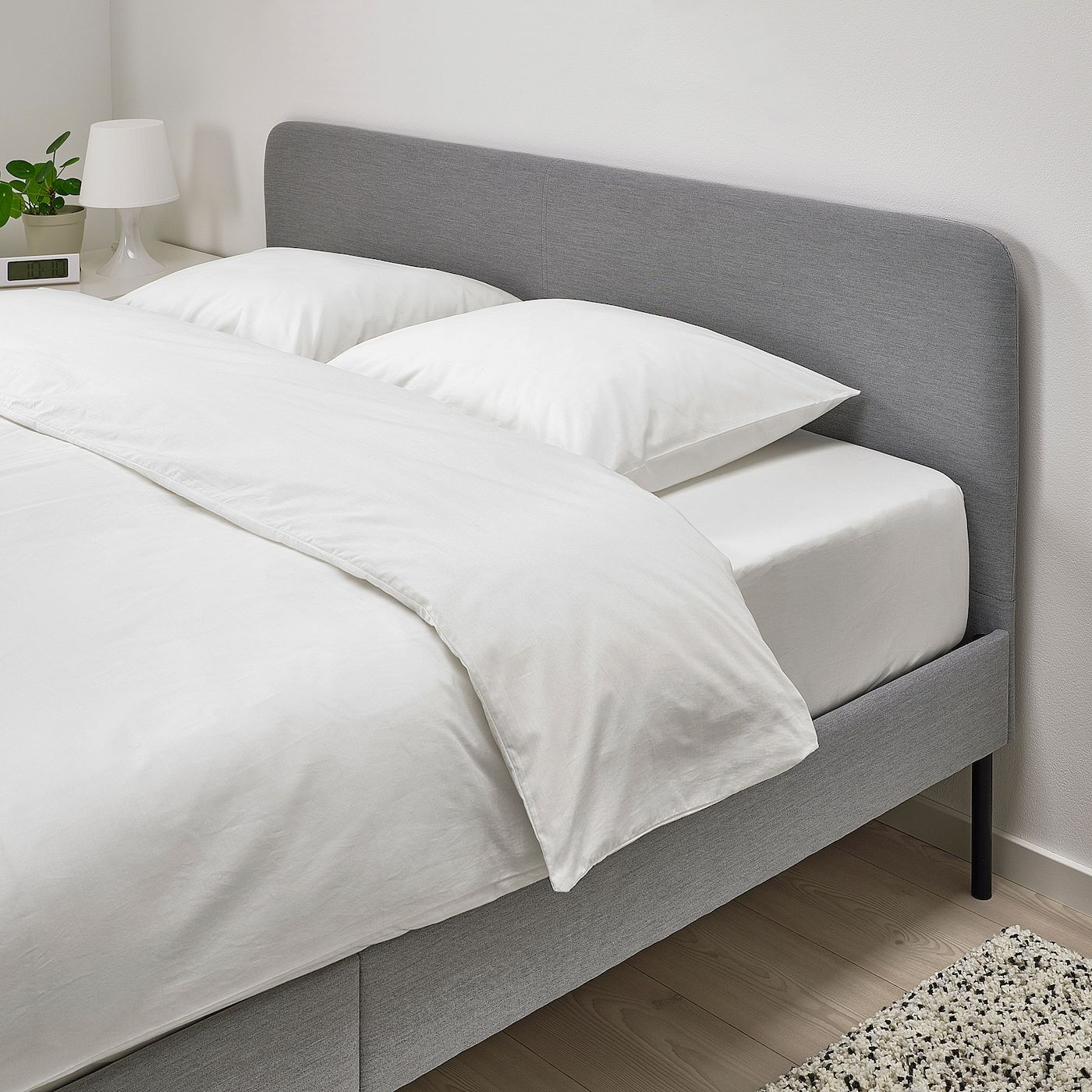 Ikea Slattum Knisa Light Gray Upholstered Bed Frame In 2020