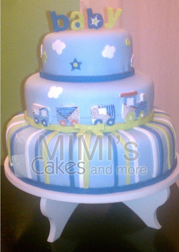 Train Baby Shower Cake Part - 43: Baby Boy Shower Cake