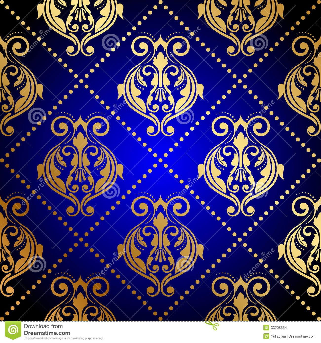 Blue Background With Luxury Gold Ornament Stock Images Image