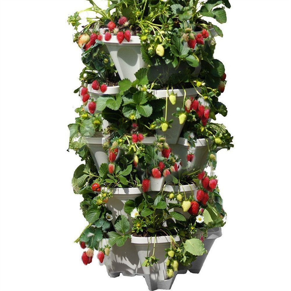 Stackable Planter Pots Garden Outdoor Strawberry Herb
