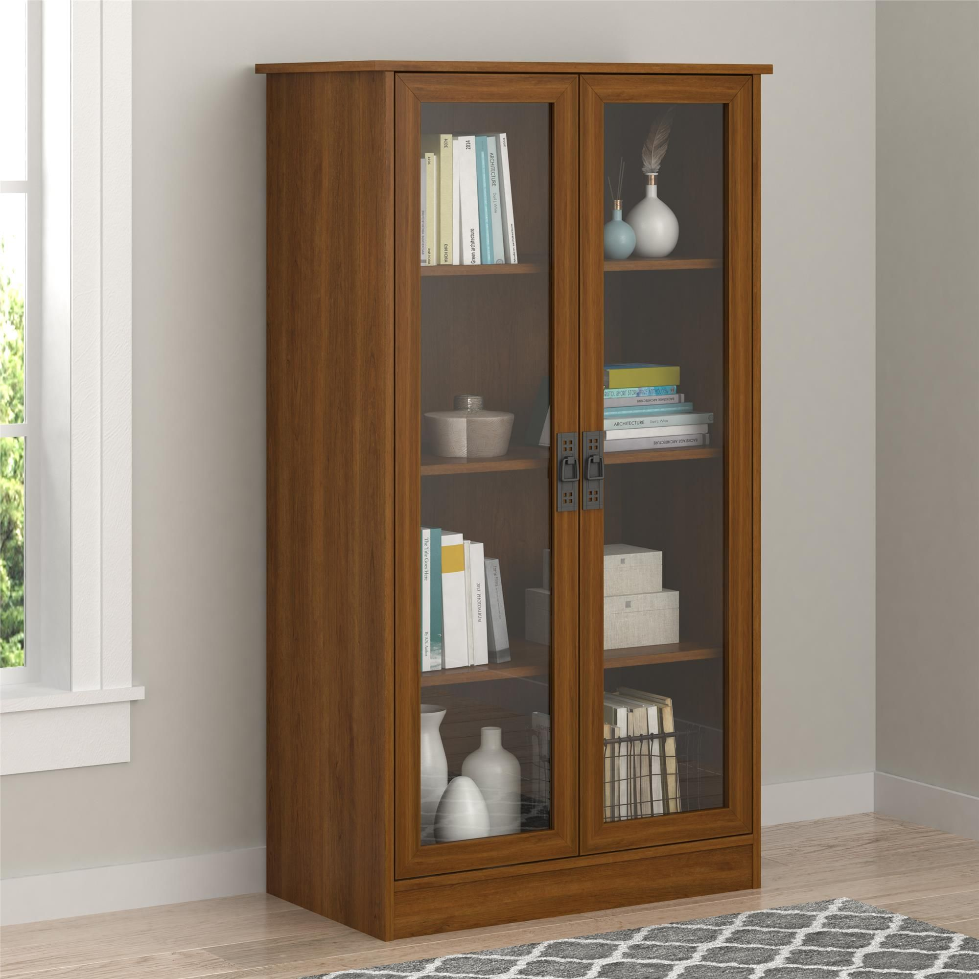 Heirloom Storage Cabinet With 4 Shelves Cherry Walmart Com Bookcase With Glass Doors Storage Cabinet Shelves Shelves