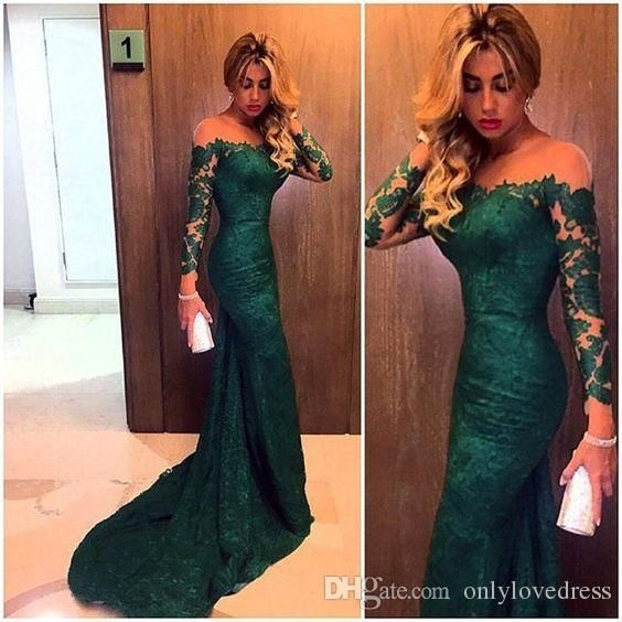 Emerald Green Prom Dresses Lace With Long Sleeves Trumpet Style 2016 ...