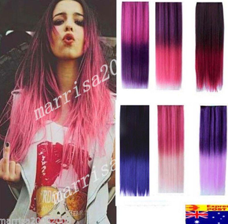 2 Tone Dip Dye Ombre Clip In Hair Extensions Hair Piece Rainbow
