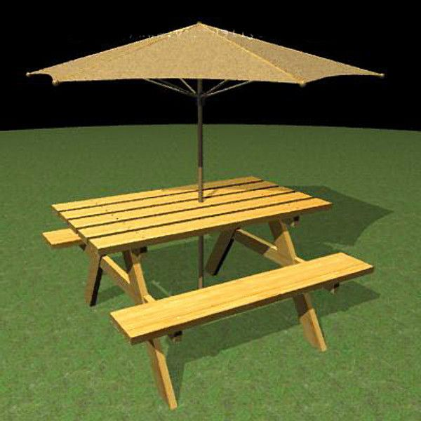 Delightful 3Ds Picnic Table Umbrella   3D Model