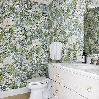 Photo of Thibaut Lucas Wallpaper in Powder Room – Transitional – Bathroom