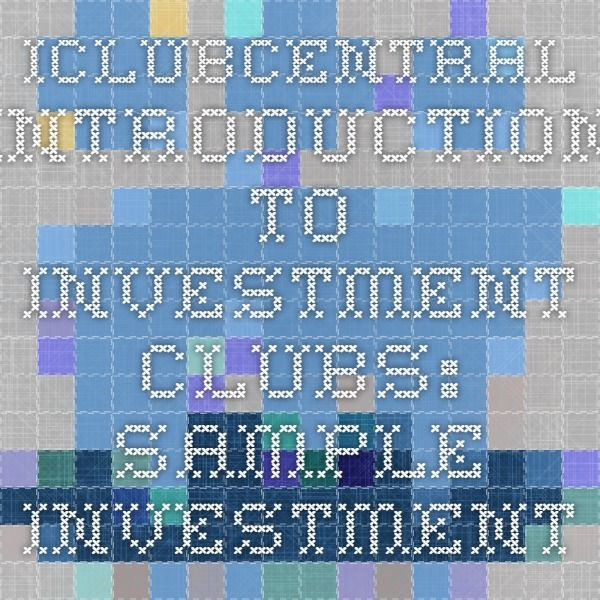 Iclubcentral Introduction To Investment Clubs Sample Investment Club Partnership Agreement Investment Club Investing Portfolio Management