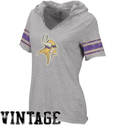 Reebok Minnesota Vikings Ladies Classics Hooded Football Premium T-Shirt -  Ash 3c0efb183
