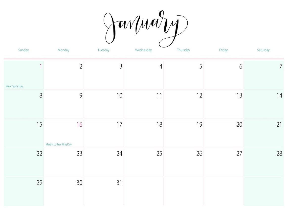Calendar For January 2017 Printable Calendar Printable Calendar