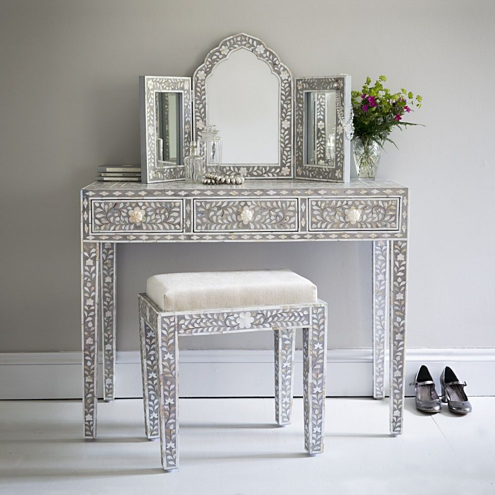 Classic mother of pearl dressing table in silver grey project x classic mother of pearl dressing table in silver grey geotapseo Image collections