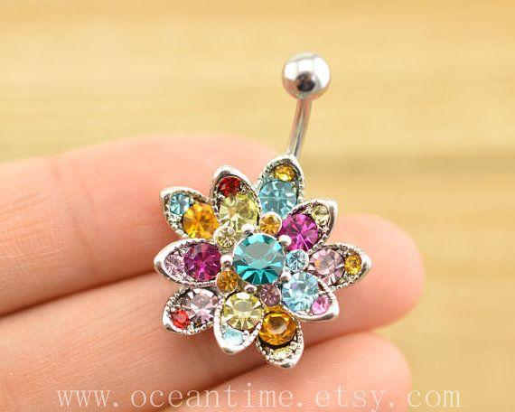 belly ring,sunflower Belly Button Rings, glitter flower belly button jewelry, Navel Jewelry,friendship bellyring,oceantime on Etsy, $5.59