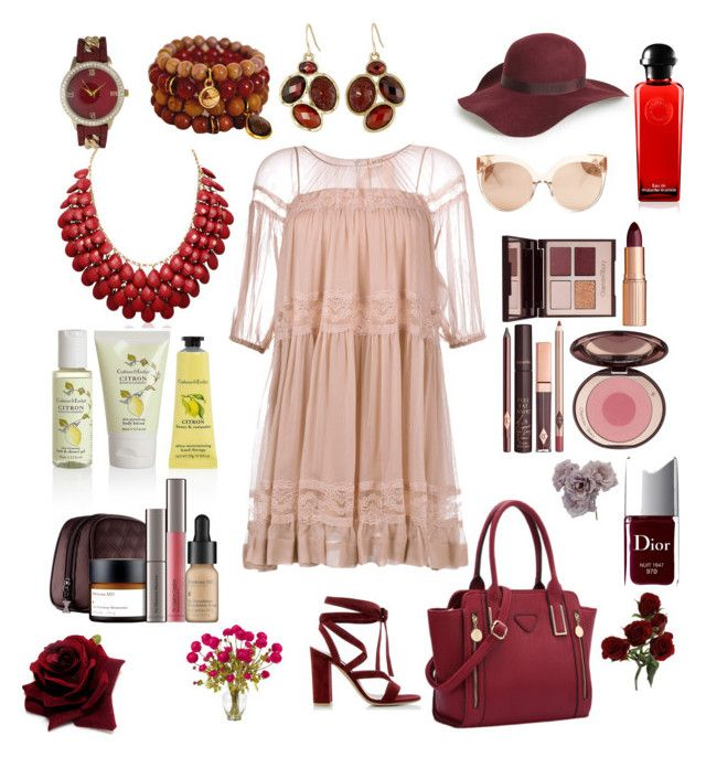 """""""Champagne and Red Wine"""" by teresalcaine ❤ liked on Polyvore featuring N°21, Gianvito Rossi, Olivia Pratt, The Sak, Topshop, Linda Farrow, Charlotte Tilbury, Crabtree & Evelyn, Perricone MD and Christian Dior"""