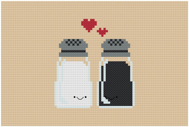Perfect Pairings - Kawaii Salt and Pepper - PDF Cross-stitch Pattern ...