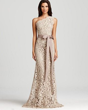 I WANT THIS IN IVORY Tadashi Shoji Lace Gown One Shoulder