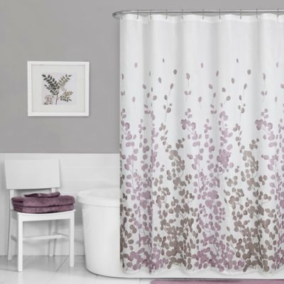 Maytex Leaf Print Fabric Shower Curtain In Purple Purple Shower