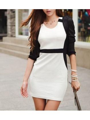 Fashion Color Blocking Round Collar Sleeveless Skinny Dress