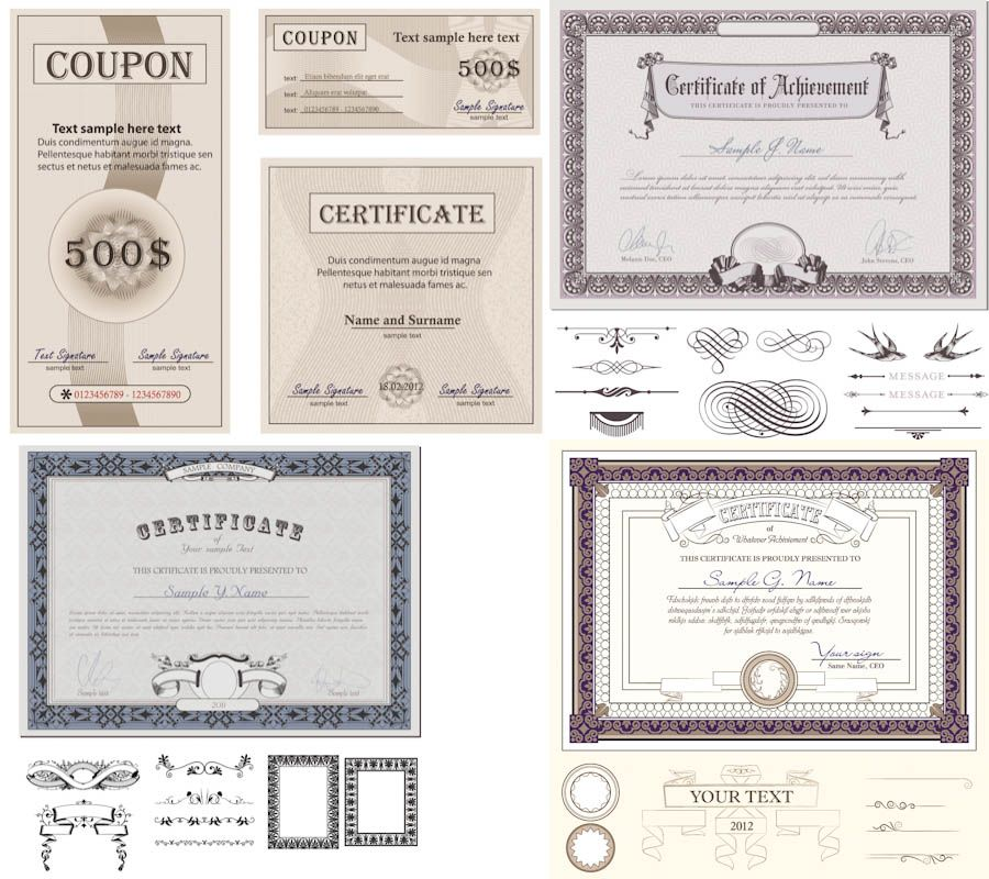Certificate designs vector Free Vector Graphic Resources - certificate designs templates