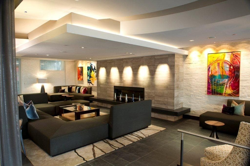 Image result for lobby with stacked stone fireplace for Modern boutique hotel