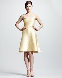 Valentino Braid-Trim Mikado Flare Dress