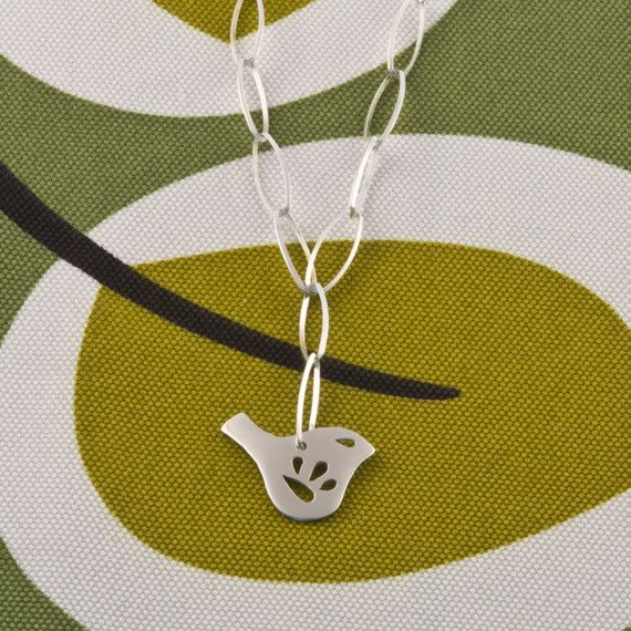 Petite Mod Jay Bird Chain Necklace by anthaus on Etsy, $80.00