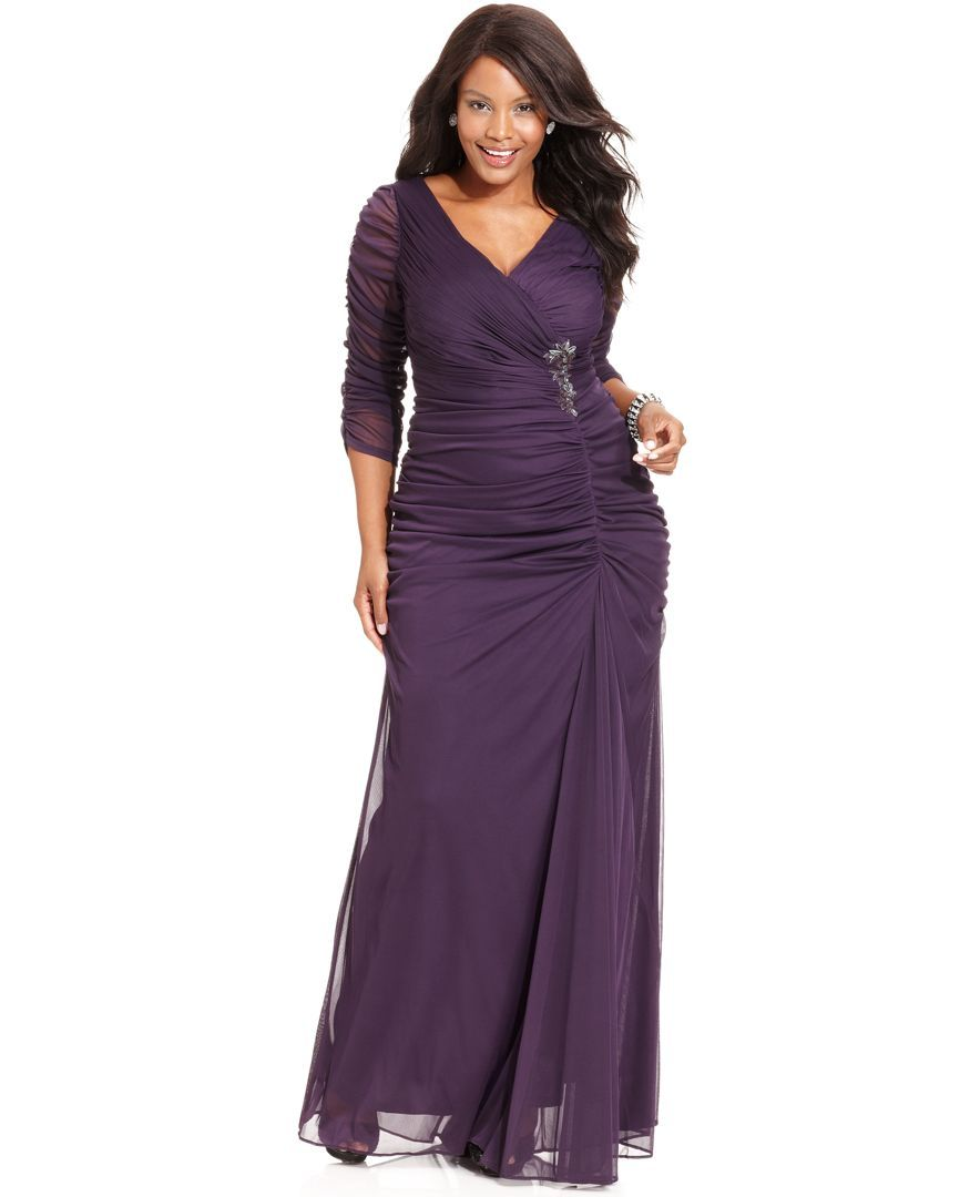 Adrianna Papell Plus Size Three Quarter Sleeve Ruched Gown