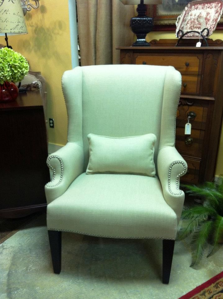 Re Upholstered Wing Back Chair With Nailhead Reupholster