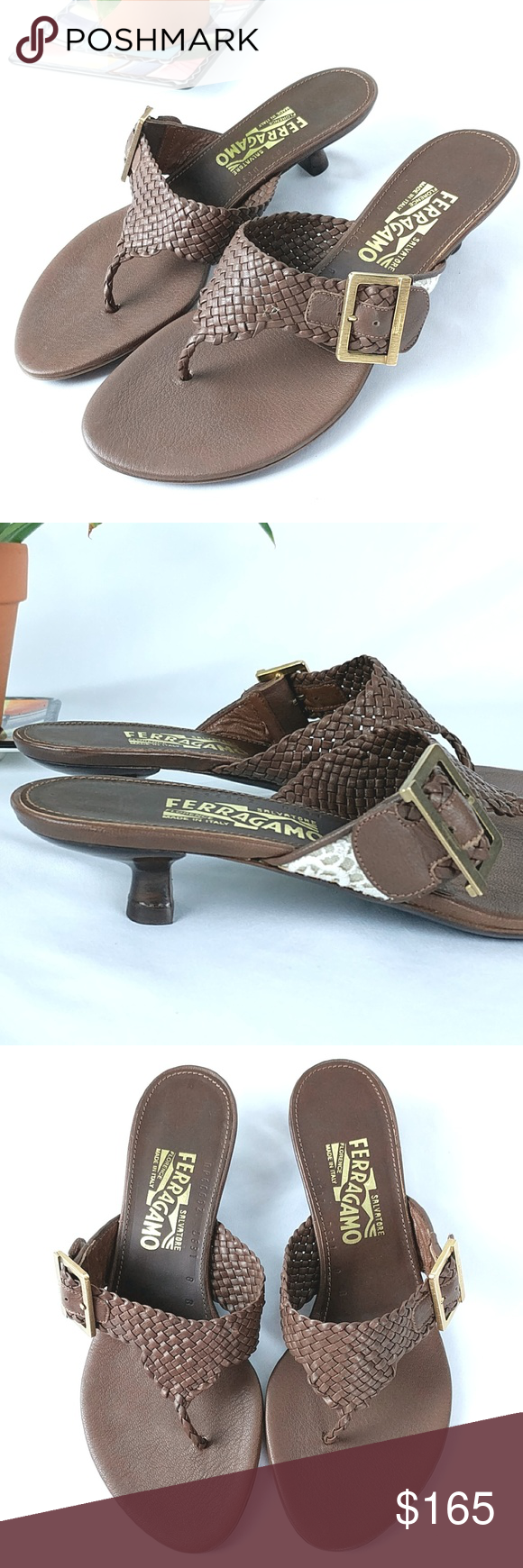 e33b6382501 NWOT Salvatore Ferragamo Woven Kitten Heel Sandal Salvatore Ferragamo Woven  Thong Kitten Heel Sandal Brown Leather with Cream Colored Lace Detail on  Strap ...