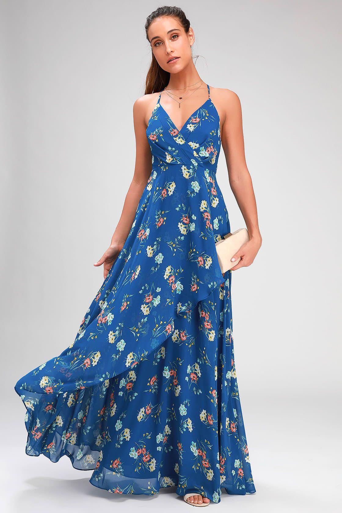 Romance Abound Royal Blue Floral Print Surplice Maxi Dress Maxi Dress Cute Floral Dresses Dresses [ 1680 x 1120 Pixel ]