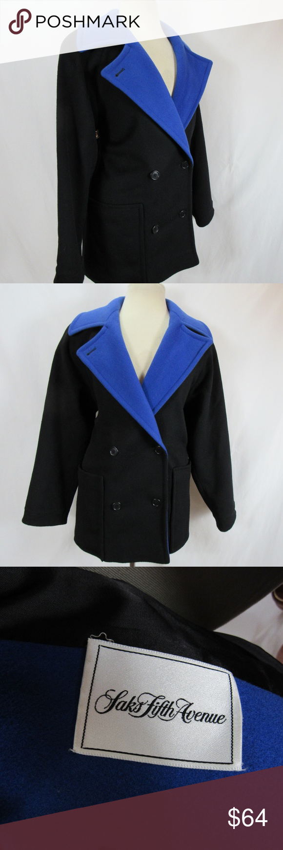 5544d4acb9 Saks Fifth Ave Black Blue Wool Peacoat sz 8 Medium Women s vintage Cuddle  Coat New York