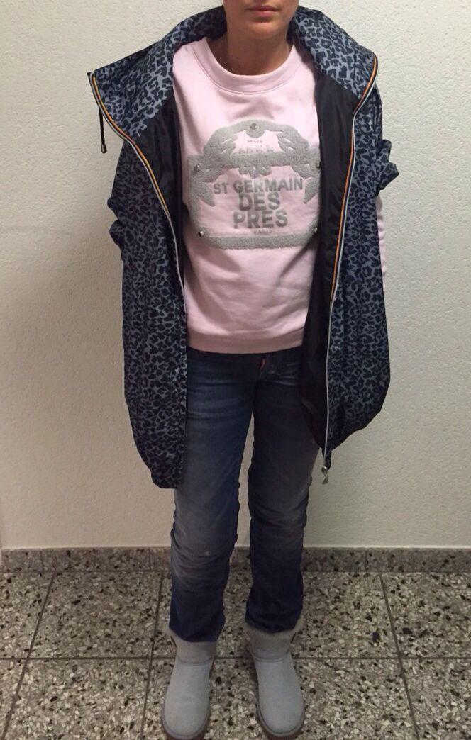 OOTD: Maje sweatshirt- Dsquared corduroy pants- Maje by K-Way rain jacket- Ugg boots