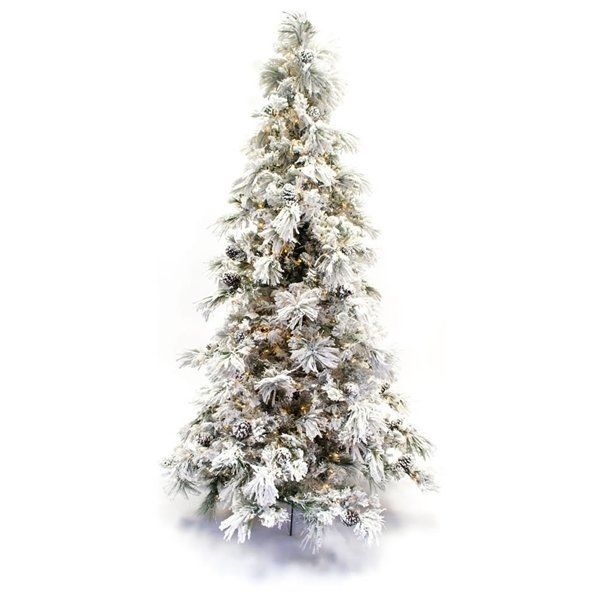 Flocked Long Needle 9\u0027 Green Pine Tree Artificial Christmas Tree