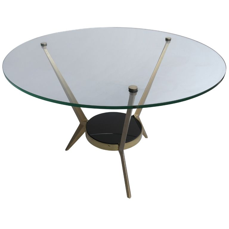 Angelo Ostuni Round Brass And Glass Coffee Table Italy S From - Round brass glass side table