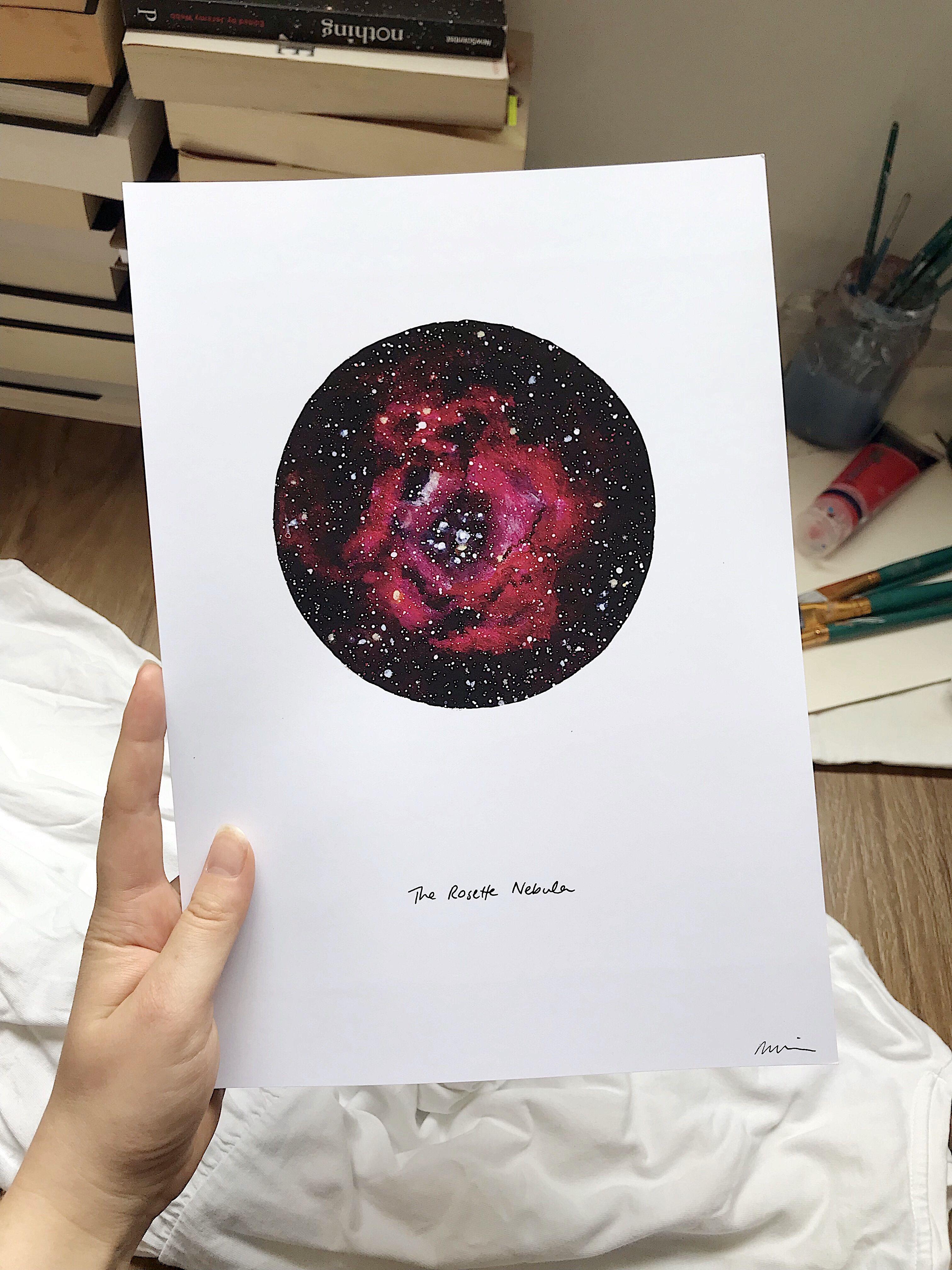 Galaxy Circle Art Astronomy Poster Rosette Nebula Space Print