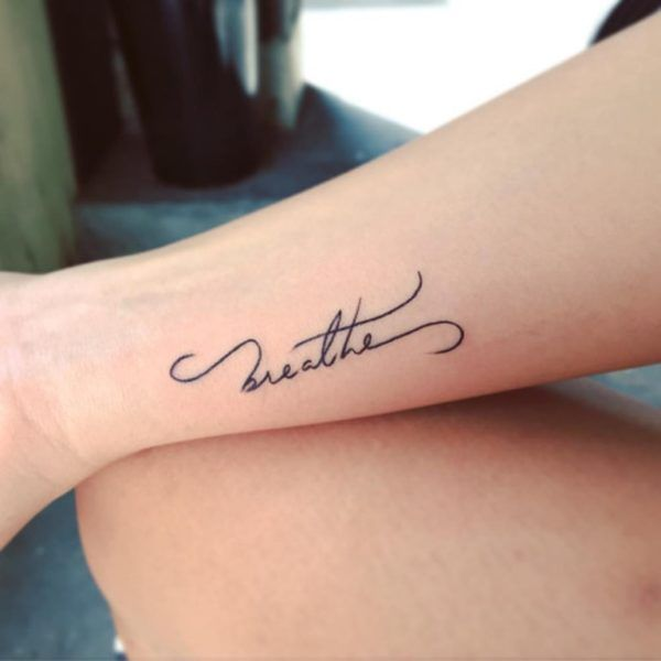 Small Letter Tattoo: Breathe Letter Tattoo On Wrist