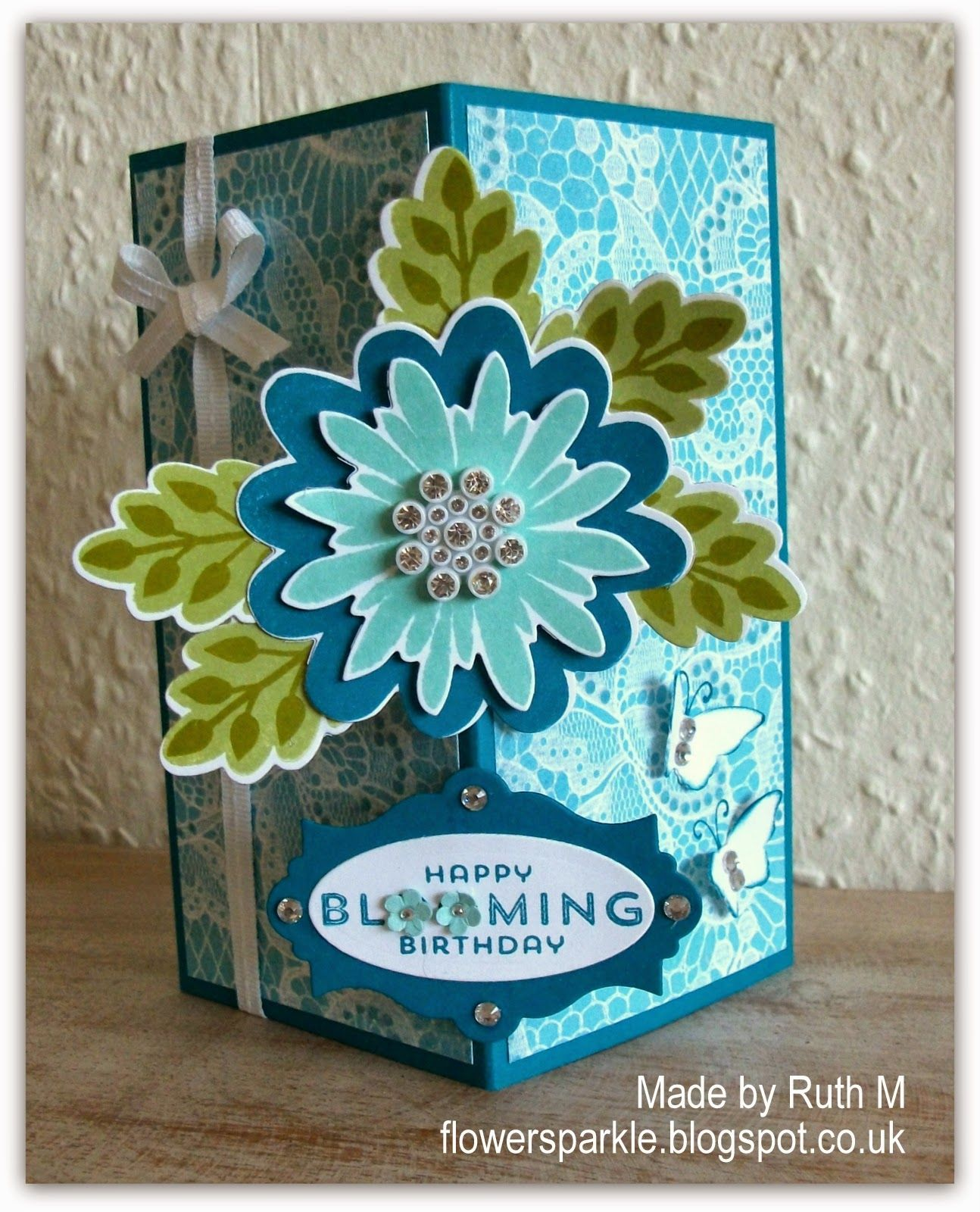 Flower sparkle flower patch floating front birthday card for gill