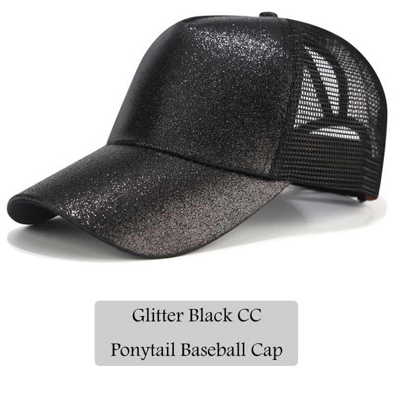 36d510d4 2018 CC Glitter Ponytail Baseball Cap Women Snapback Hat Summer Messy Bun  Mesh Hats Casual Adjustable Sport Caps Drop Shipping