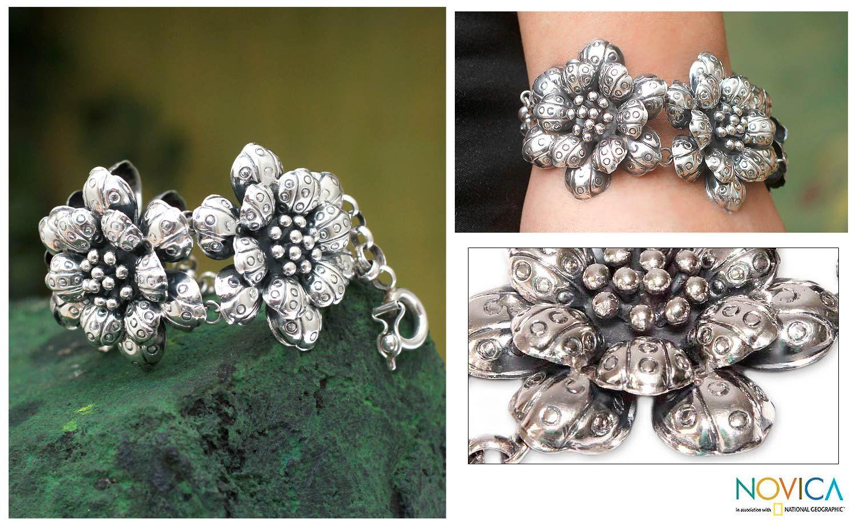 Silver flower bracelet - Dewdrop Violets | NOVICA