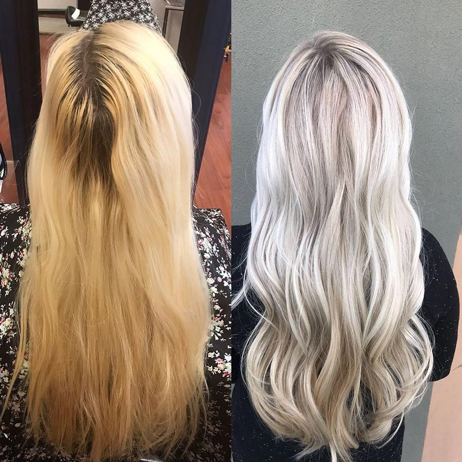 Platinum Blonde Hair Color Correction Before And After Wella