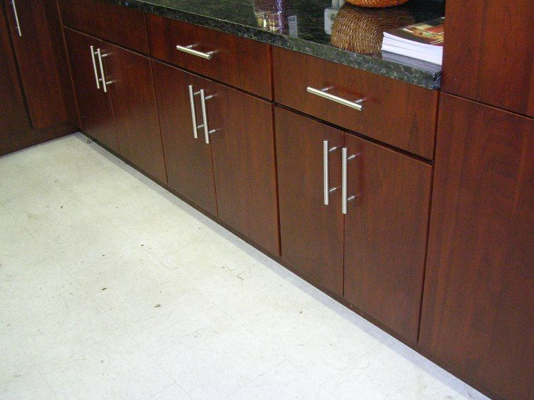 Slab Kitchen Cabinet Doors | Model# 4E Cherry Slab Door Kitchen Cabinets  Photo Album (M14)
