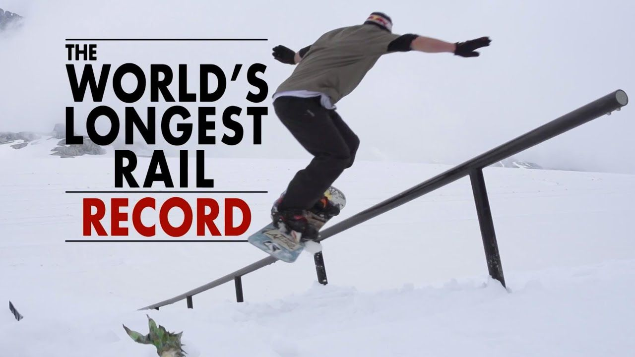 Snowboarding the World's Longest Rail 84m World Record