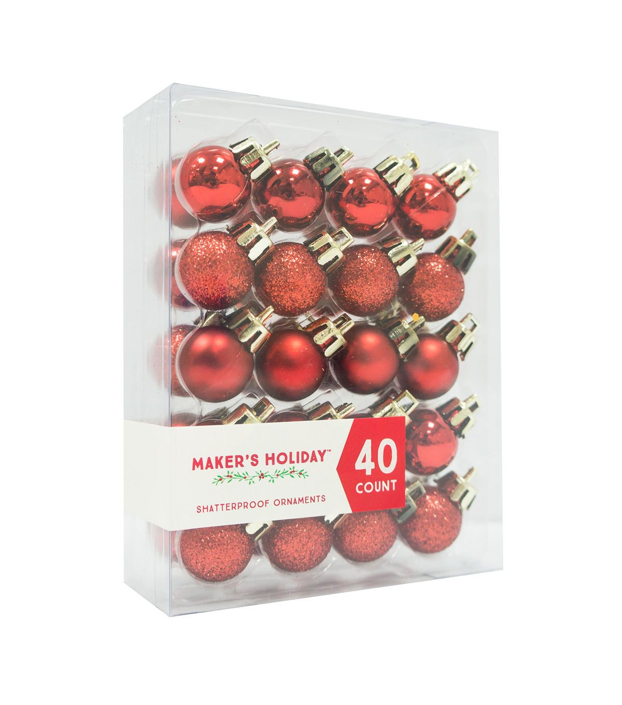 Maker S Holiday 40ct Mini Shatterproof Ornaments Red White Shatterproof Ornaments Shatterproof Ornaments