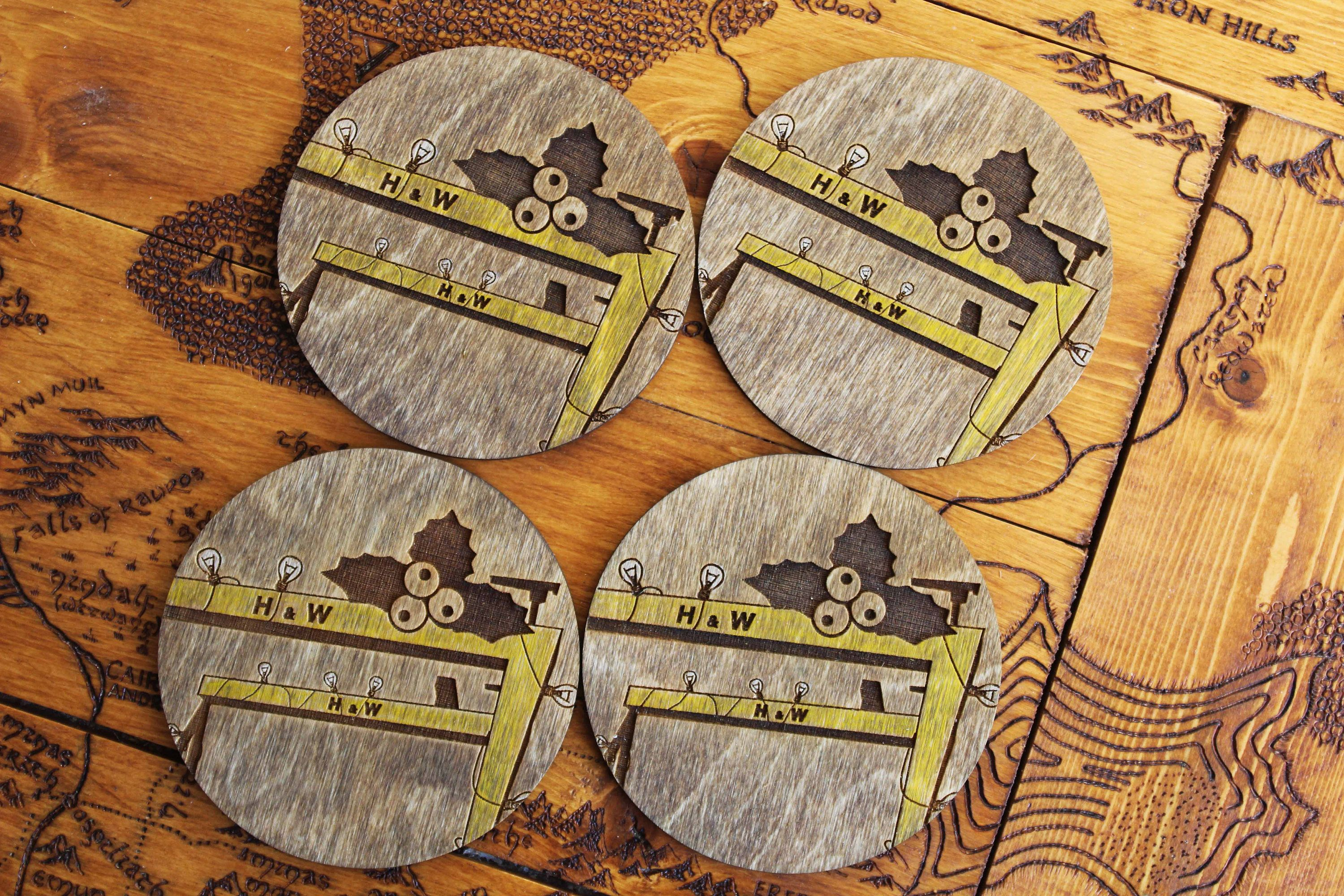 Belfast Harland and Wolff wooden Coasters christmas