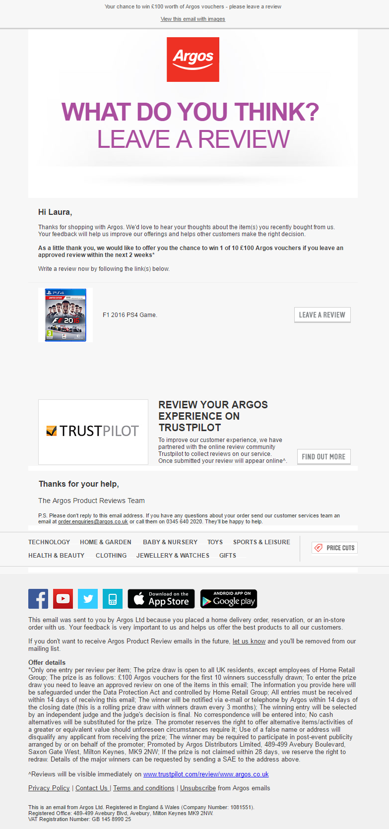 Review Request Email From Argos Showing Cart Of Recent Order Emailmarketing Email Mar Building Design Software Building Information Modeling Email Templates