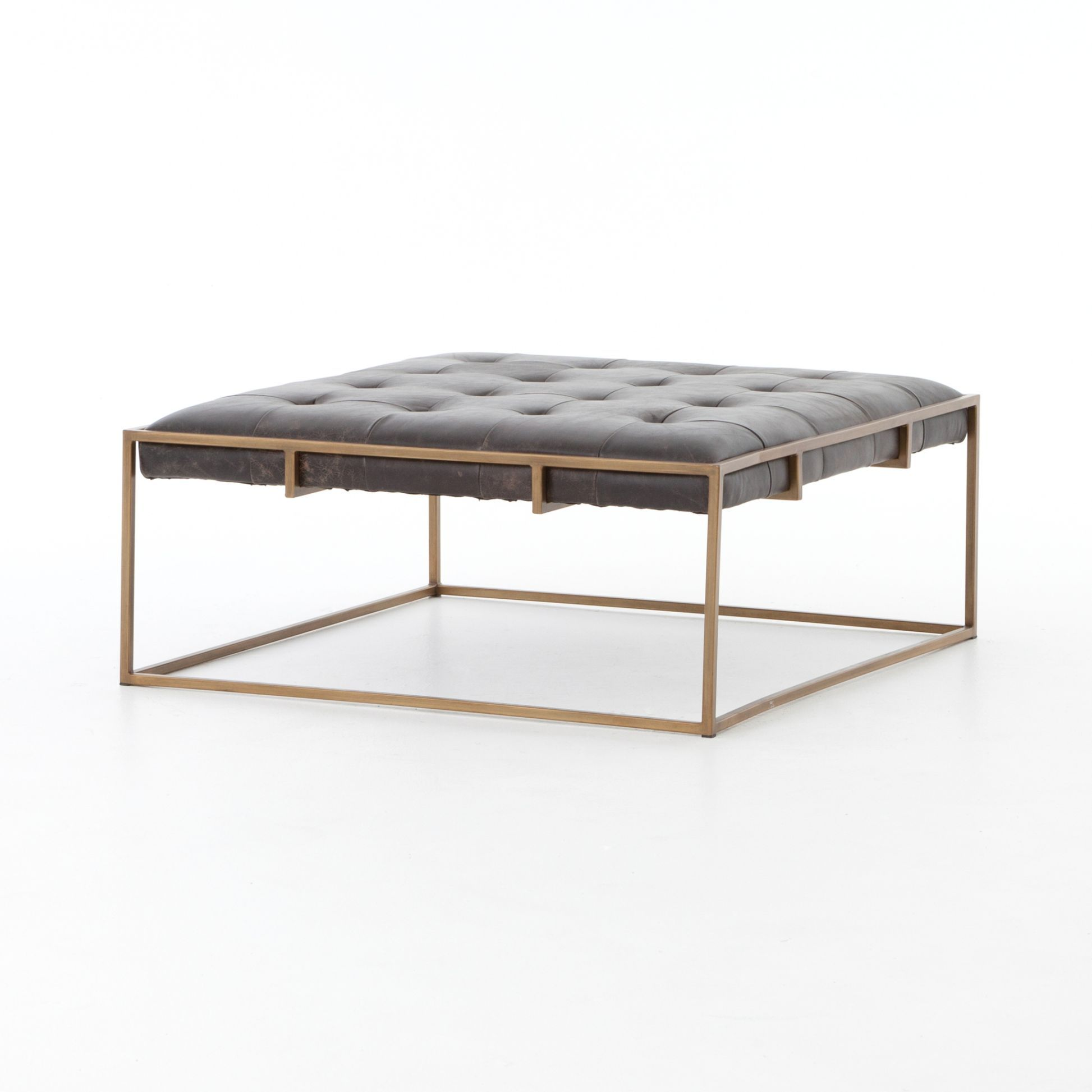 Square Tufted Leather Coffee Table Ottoman with Aged Brass
