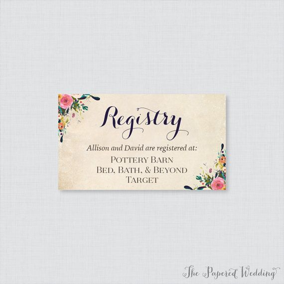 Printable Or Printed Wedding Registry Cards Fl Invitation Inserts Colorful
