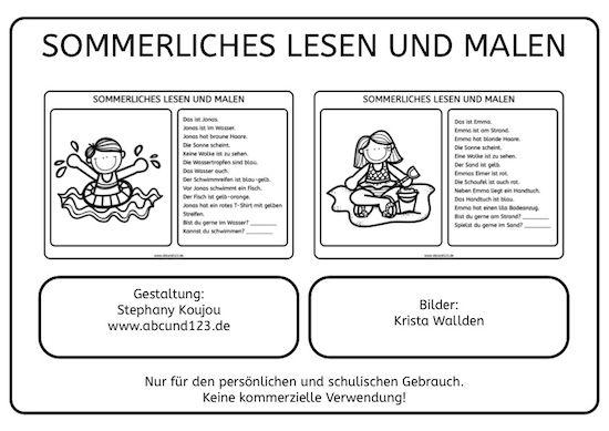 Leseverständnis üben : Sommerliches lesen und malen kinder arbeitsbl?tter