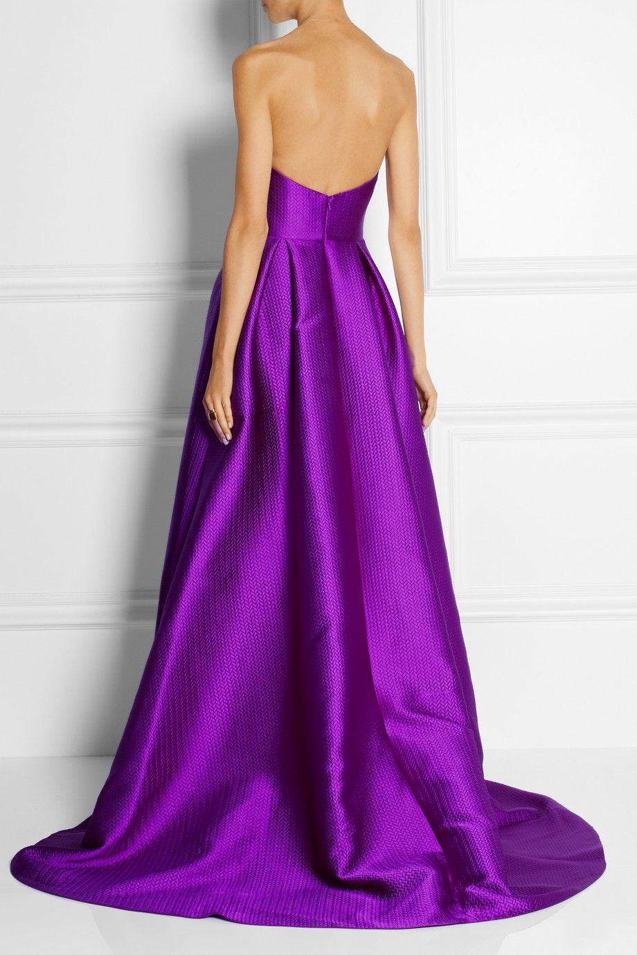 Lela rose embossed satin gown netaportercom purple