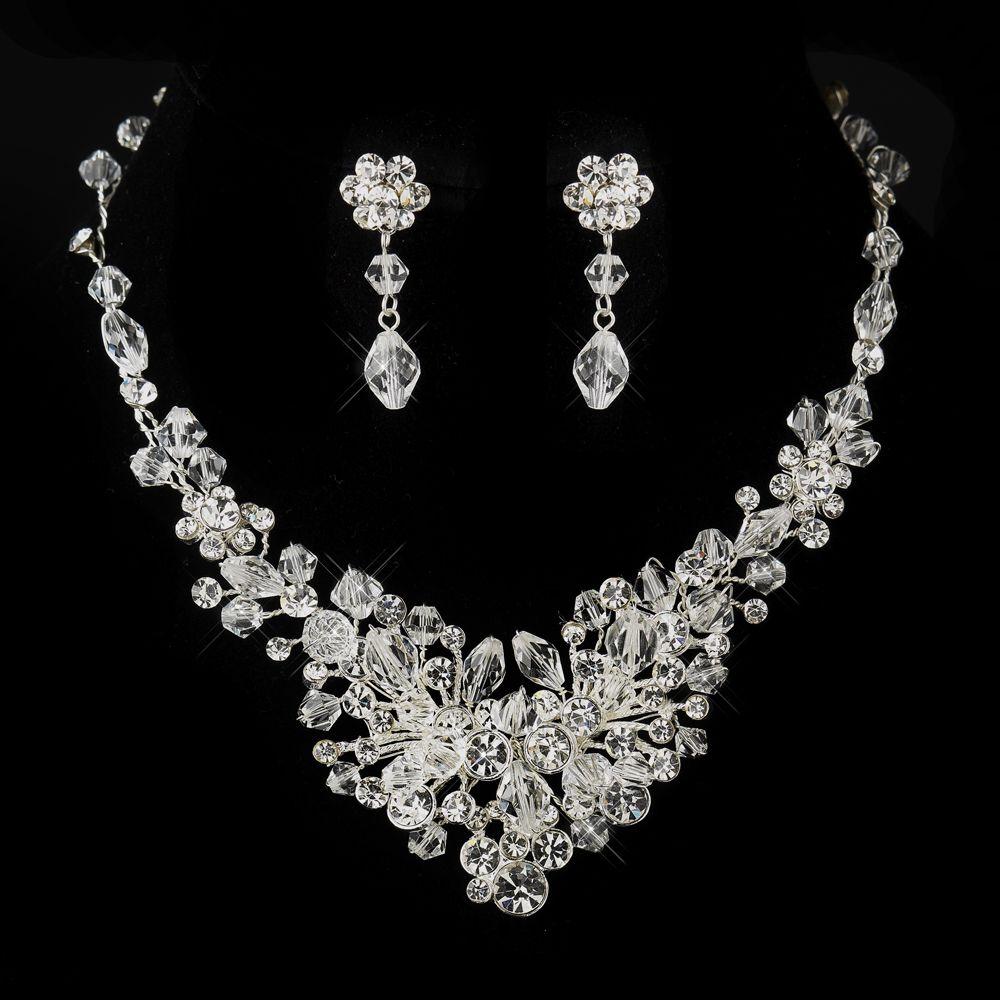 Dazzling Crystal and Rhinestone Wedding Necklace Jewelry Set