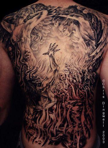 Heaven And Hell Back Tattoo : heaven, tattoo, Connection, Timed, Tattoo,, Sleeve, Tattoos,, Heaven, Tattoos