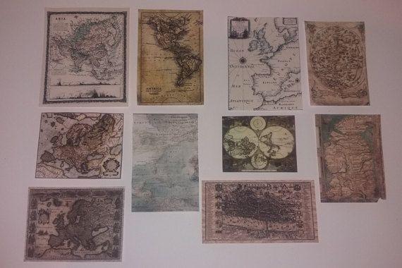 10 Miniature Maps for dollhouses por TheDollHouseNym en Etsy
