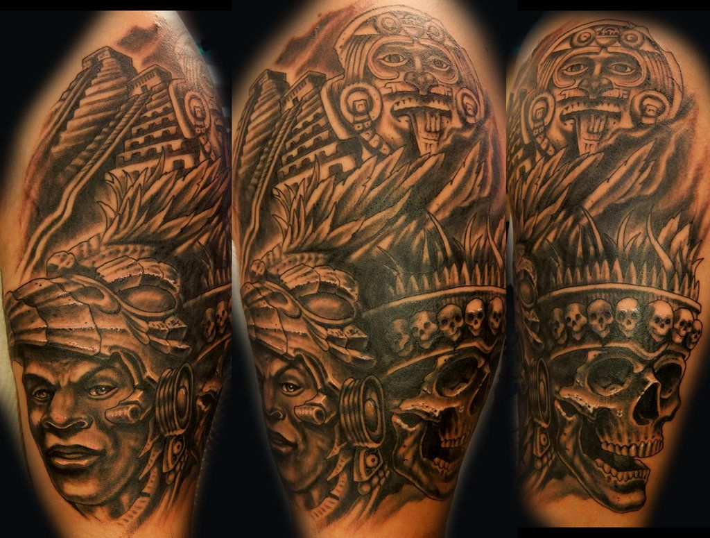 Aztec Coverup By Monkeyproink Beto Cool Shoulder Tattoos Shoulder Tattoo Tribal Shoulder Tattoos